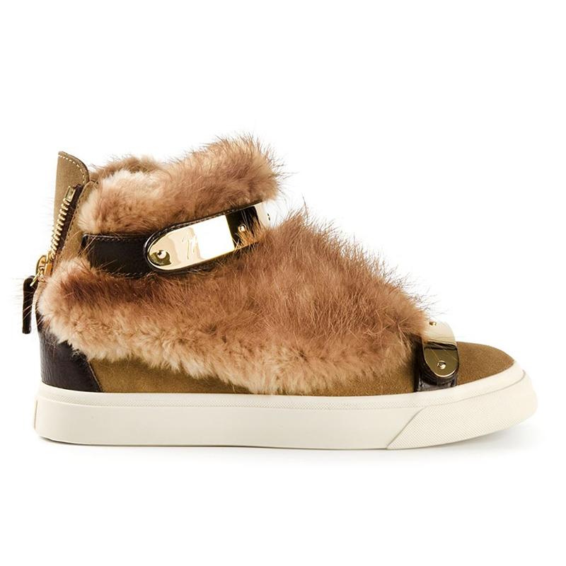 a011a1b2785 Shoes : Fur trim hi-top sneakers